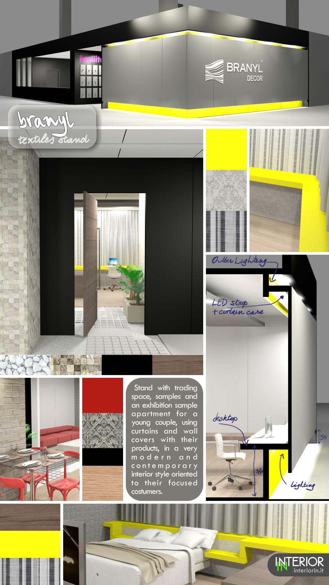 Moodboard for exhibition stand with a simulated modern home